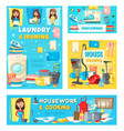 woman with housework and house cleaning items vector image vector image