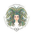 zodiac sign portrait of a woman virgo vector image vector image