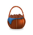 wicker basket with chocolate easter eggs vector image