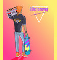 80s forever punk and rock music banner with boy vector image