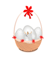 a brown basket beautiful easter egg vector image vector image