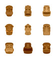 ancient idol icon set flat style vector image