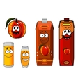 Apricot fruit and juice characters vector image vector image