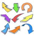arrows hand drawn colored doodles set vector image vector image
