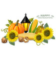 autumn harvest pumpkin and sunflower fresh vector image vector image