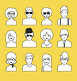 avatars or icons of boys and girls outlines pop vector image vector image