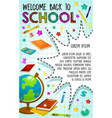 back to school poster globe and book vector image vector image