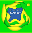 background with brazilian flag colors paper cut vector image vector image