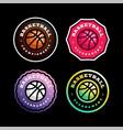 basketball circular logo set modern professional vector image vector image