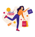 black friday and sales happy woman is shopping vector image vector image