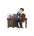 businessman at working table on vector image vector image
