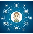 cartoon guy internet communication media web vector image