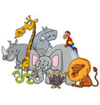 cartoon safari animals group vector image vector image