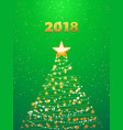 chirstmas abstract tree and 2018 background vector image vector image