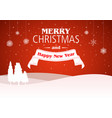 christmas background with tree silhouette in red vector image vector image