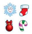 christmas cartoon icon set - snowflake stocking vector image