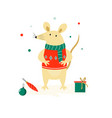 christmas cute funny mouse in sweater vector image