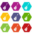 classical guitar icon set color hexahedron vector image vector image