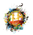 colorful valentines emblem vector image vector image