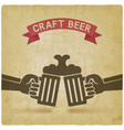 Craft beer banner hands with beer mugs