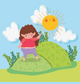 cute girl game in the mountains with sun and vector image vector image