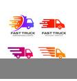 delivery truck logo design courier logo design vector image vector image
