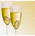 Engagement Ring with Champagne Glass vector image vector image