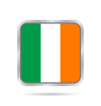 Flag of Ireland shiny metallic gray square button