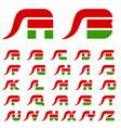 flame hot chilli pepper font alphabet letters vector image
