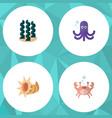 flat icon nature set of seashell alga cancer and vector image vector image
