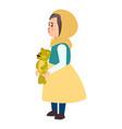 girl teddy bear icon flat style vector image