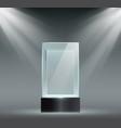 glass showcase transparent plastic cube empty vector image vector image