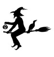 halloween witch on broom fly silhouette vector image