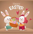 happy easter card couple bunny basket egg vector image vector image
