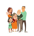 Happy family hugging each other cartoon character