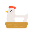 hen in nest isolated on white background flat vector image vector image