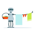 housemaid android character hanging out laundry vector image vector image