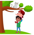 little girl sits on the boy shoulders and pulls vector image vector image