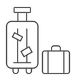 luggage thin line icon suitcase and bag baggage vector image vector image