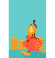 Man putting coin in piggy bank vector image vector image