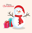 merry christmas happy snowman with gift box vector image vector image