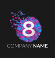 number eight logo with blue purple particles vector image vector image
