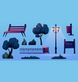 park construction elements isolated cartoon icons vector image