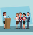 politician speaking with microphone vector image vector image