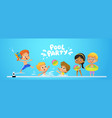 pool party invitation template baner multiracial vector image