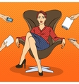 Pop Art Successful Business Woman vector image vector image