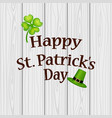 poster st patrick hat with clover and cylinder vector image vector image