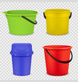 realistic buckets metal and plastic material vector image vector image