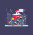 santa with gift bag on christmas bike vector image