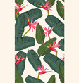 seamless pattern banana leaf with pink bird of vector image vector image